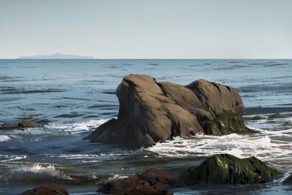 Rocas en la inmensidad del mar