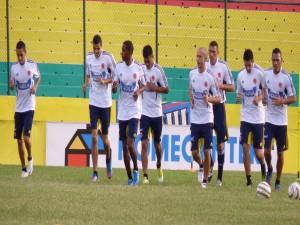 Jugadores de la Selección Colombiana entrenando