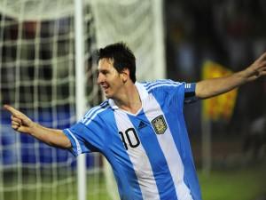 Messi jugando con la Selección Argentina