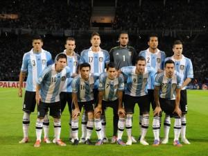 Jugadores de la Selección Argentina antes del partido