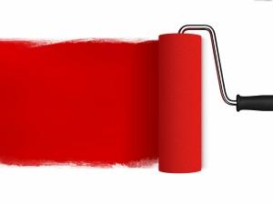 Postal: Rodillo con pintura roja