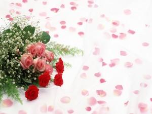 Postal: Ramo de rosas y pétalos