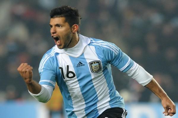 El Kun Agüero con la camiseta de la Selección Argentina