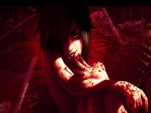 Postal: Mujer cubierta de sangre
