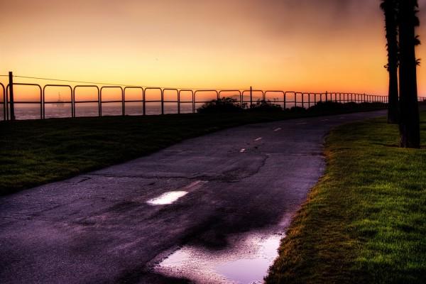 Carretera mojada en la costa