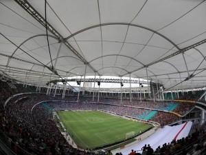 Día de partido en el estadio Fonte Nova (Brasil)