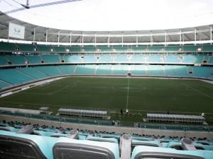 El campo de juego visto desde las gradas (Estadio Fonte Nova, Salvador de Bahía)