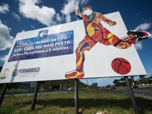 Postal: Letrero del estadio Arena Pernambuco (Copa del Mundo 2014)
