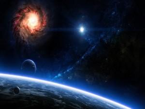 Postal: Una galaxia y planetas en el espacio