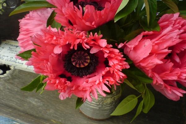 Hermosas flores rosas en un jarrón