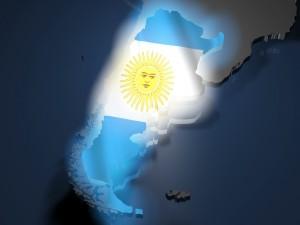 Postal: Bandera y mapa de Argentina