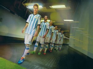 Los jugadores de la Selección Argentina saliendo al terreno de juego