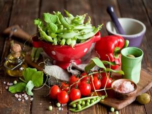 Guisantes en la vaina y otros alimentos