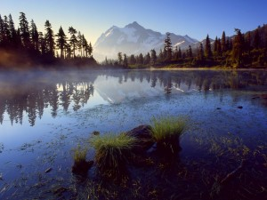 Bruma sobre el lago al amanecer