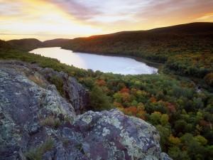 Postal: Árboles otoñales bordeando el río