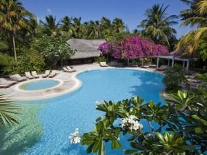 Tumbonas frente a una gran piscina
