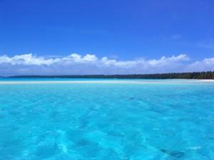 Postal: El mar azul cerca de la costa