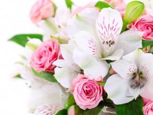 Bello ramo con astromelias y rosas