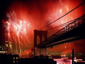 Fuegos artificiales en el cielo de Nueva York