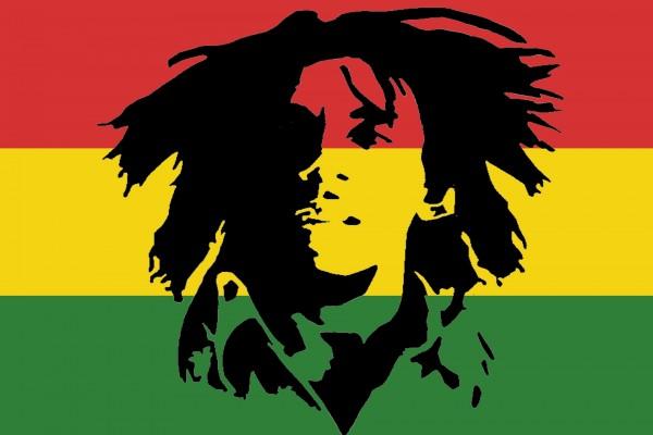 La cara de Bob Marley estampada en la bandera