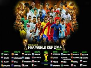 """Postal: Grupos de juego en la """"Copa del Mundo Brasil 2014"""""""