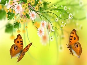 Mariposas junto a unas flores