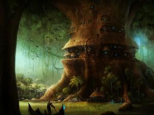 Postal: Casas en el gran árbol