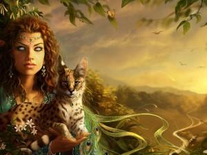 Bella mujer con un felino en sus brazos