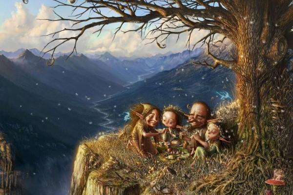 Familia de duendes haciendo un picnic