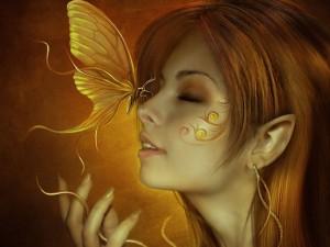Postal: Mariposa sobre la nariz del hada
