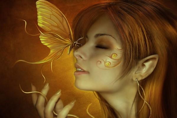 Mariposa sobre la nariz del hada