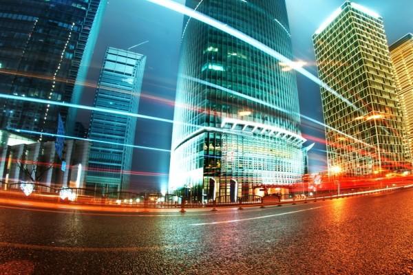 Luces en la noche de Hong Kong
