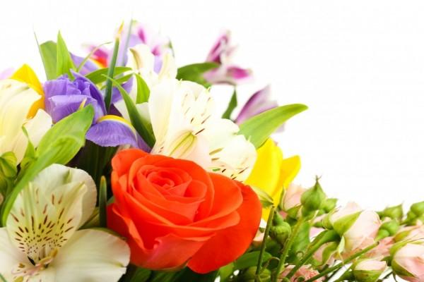 Ramo de flores con alstromerias, tulipanes, lirios y rosas