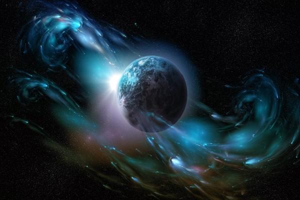 Un planeta rodeado de estelas luminosas