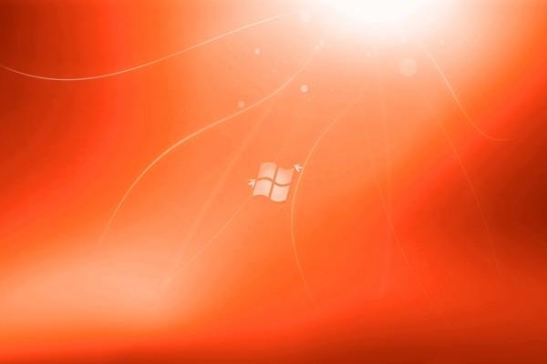 Logo de Windows en fondo naranja