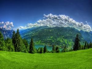 Montañas verdes junto a un lago
