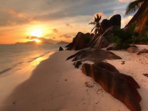 Postal: Una bonita playa al atardecer