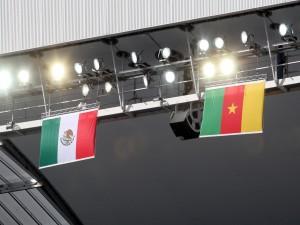 Banderas de México y Camerún en el partido del Mundial 2014