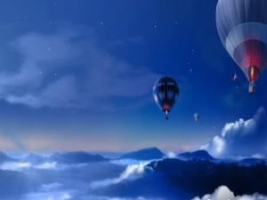 Viajando en globo al anochecer