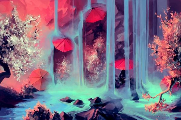 Sombrillas entre las cascadas