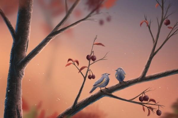 Pajaritos en una rama