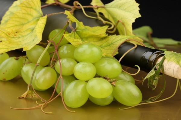 Uvas blancas y una botella de vino