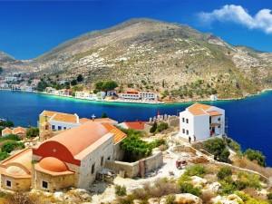 Postal: Población en Grecia junto al mar