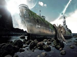 Un pulpo gigante subiendo al barco