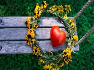 Corona de flores y corazón