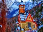 Hotel en un bosque nevado