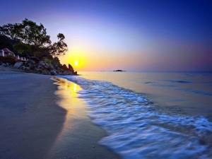 Postal: Comienzo de un nuevo día en la playa
