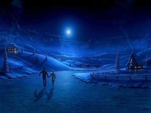 Postal: Paseo nocturno en la nieve