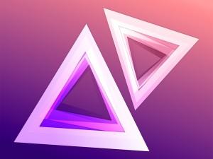 Postal: Triángulos abstractos en tonos rosados