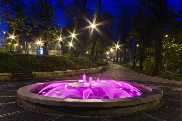 Fuente con luces de colores